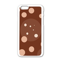 Brown abstract design Apple iPhone 6/6S White Enamel Case