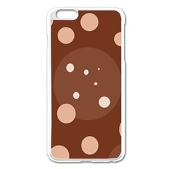 Brown abstract design Apple iPhone 6 Plus/6S Plus Enamel White Case