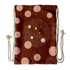 Brown abstract design Drawstring Bag (Large)