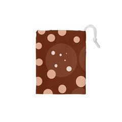 Brown abstract design Drawstring Pouches (XS)