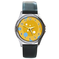 Blue and yellow moon Round Metal Watch