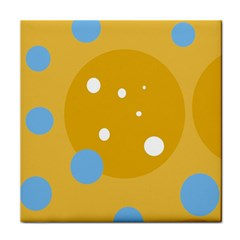 Blue and yellow moon Tile Coasters