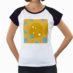 Blue and yellow moon Women s Cap Sleeve T