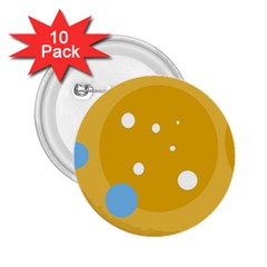 Blue and yellow moon 2.25  Buttons (10 pack)