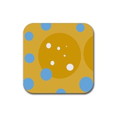 Blue and yellow moon Rubber Square Coaster (4 pack)