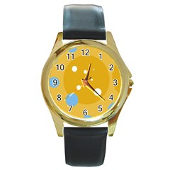 Blue and yellow moon Round Gold Metal Watch