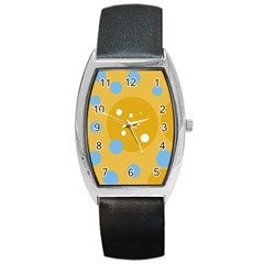 Blue and yellow moon Barrel Style Metal Watch