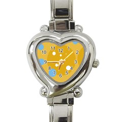 Blue and yellow moon Heart Italian Charm Watch