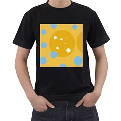 Blue and yellow moon Men s T-Shirt (Black) (Two Sided)