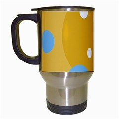 Blue and yellow moon Travel Mugs (White)