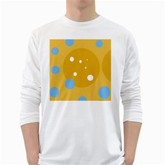 Blue and yellow moon White Long Sleeve T-Shirts