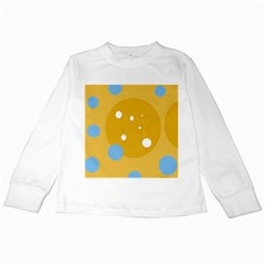 Blue and yellow moon Kids Long Sleeve T-Shirts