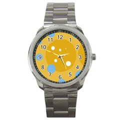 Blue and yellow moon Sport Metal Watch