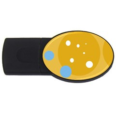 Blue and yellow moon USB Flash Drive Oval (4 GB)