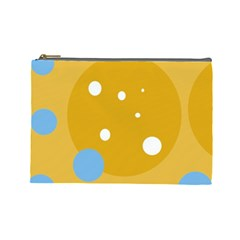 Blue and yellow moon Cosmetic Bag (Large)