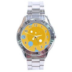 Blue and yellow moon Stainless Steel Analogue Watch
