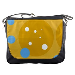 Blue and yellow moon Messenger Bags
