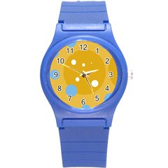 Blue and yellow moon Round Plastic Sport Watch (S)