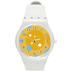 Blue and yellow moon Round Plastic Sport Watch (M)