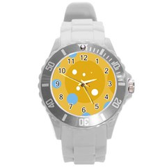 Blue and yellow moon Round Plastic Sport Watch (L)