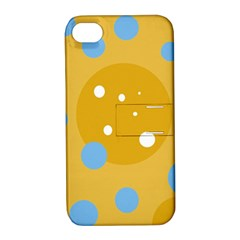 Blue and yellow moon Apple iPhone 4/4S Hardshell Case with Stand