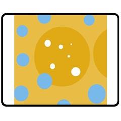 Blue and yellow moon Double Sided Fleece Blanket (Medium)