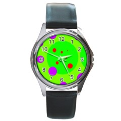 Green and purple dots Round Metal Watch
