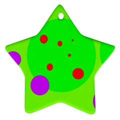 Green and purple dots Ornament (Star)