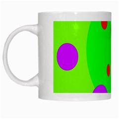 Green and purple dots White Mugs