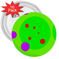 Green and purple dots 3  Buttons (10 pack)
