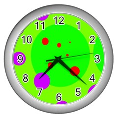 Green and purple dots Wall Clocks (Silver)