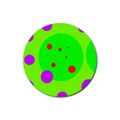 Green and purple dots Rubber Coaster (Round)