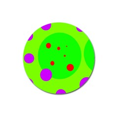 Green and purple dots Magnet 3  (Round)