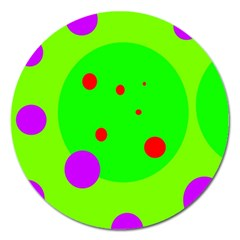 Green and purple dots Magnet 5  (Round)