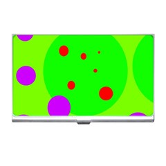 Green and purple dots Business Card Holders