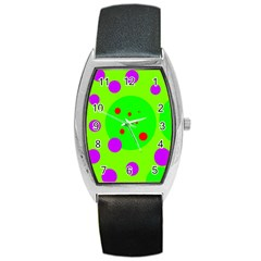 Green and purple dots Barrel Style Metal Watch