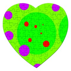 Green and purple dots Jigsaw Puzzle (Heart)