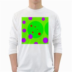 Green and purple dots White Long Sleeve T-Shirts