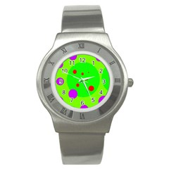 Green and purple dots Stainless Steel Watch