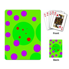 Green and purple dots Playing Card