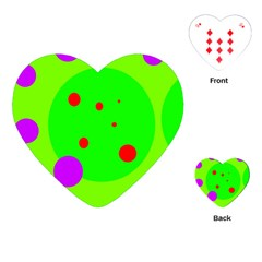 Green and purple dots Playing Cards (Heart)