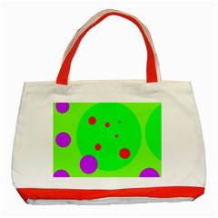 Green and purple dots Classic Tote Bag (Red)