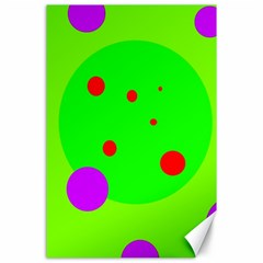 Green and purple dots Canvas 24  x 36
