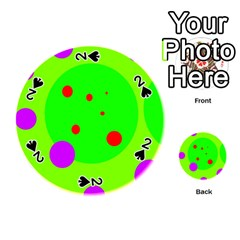 Green and purple dots Playing Cards 54 (Round)