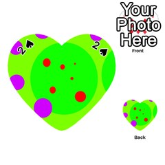 Green and purple dots Playing Cards 54 (Heart)