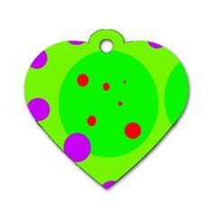 Green and purple dots Dog Tag Heart (One Side)