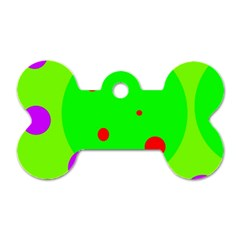 Green and purple dots Dog Tag Bone (Two Sides)