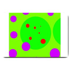 Green and purple dots Large Doormat