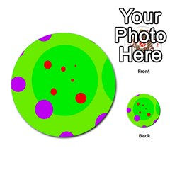 Green and purple dots Multi-purpose Cards (Round)