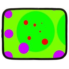 Green And Purple Dots Netbook Case (large)